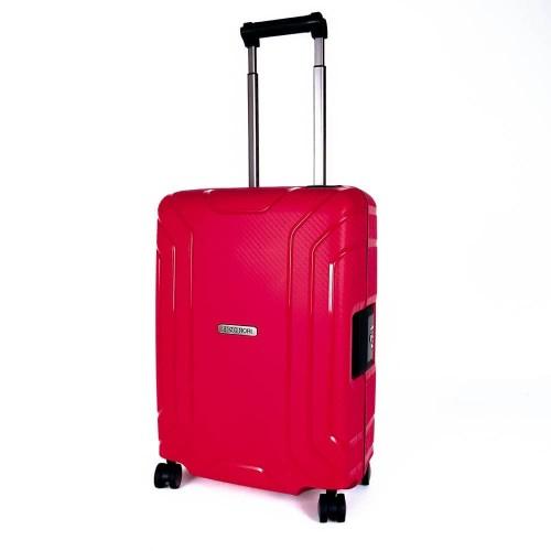 Луксозен твърд куфар от полипропилен със закопчалки за ръчен багаж ENZO NORI модел PRIME 54 см червен