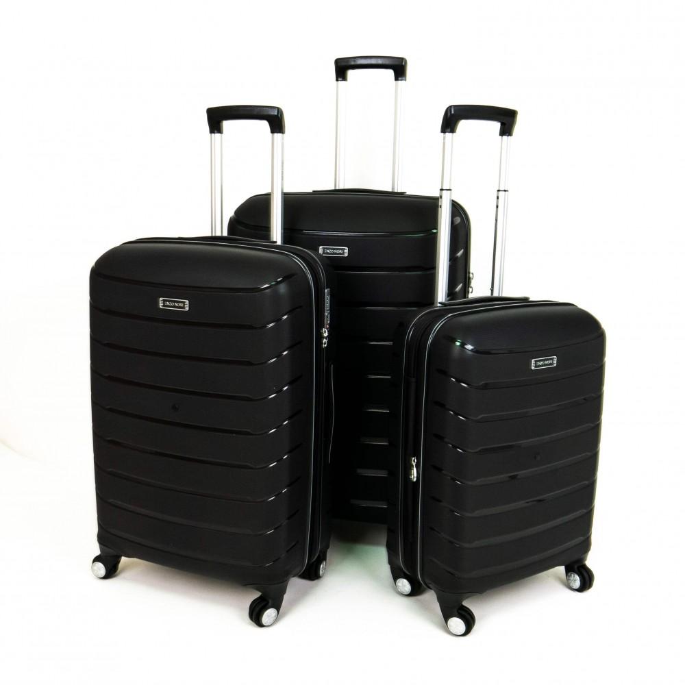 Куфар ENZO NORI модел LINES комплект от 3 размера полипропилен черен
