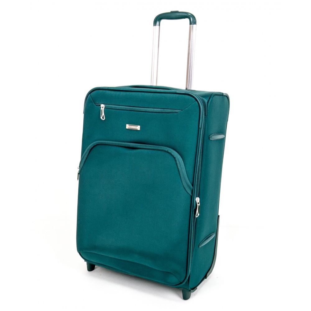 Куфар ENZO NORI модел COTTON 64 см от текстил с 2 колелца зелен