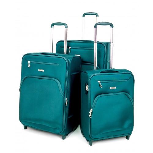 Куфар ENZO NORI модел COTTON комплект от 3 размера текстил зелен