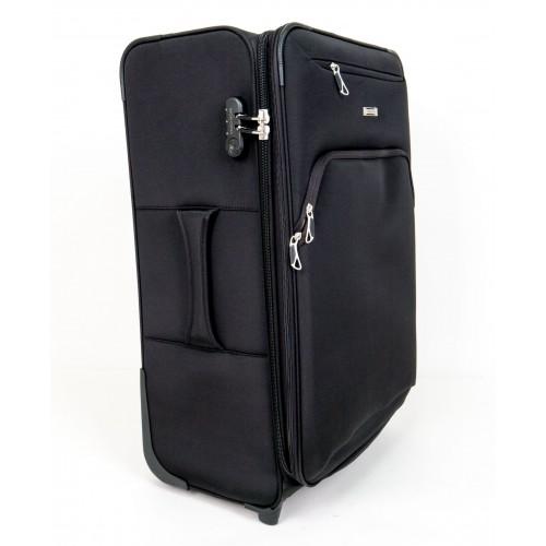 Текстилен куфар за ръчен багаж черен ENZO NORI модел COTTON 54 см