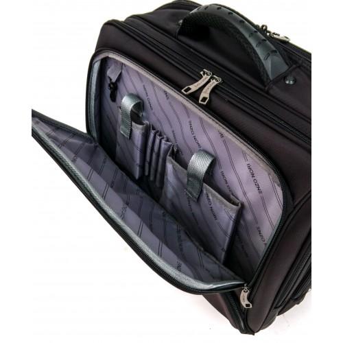 Куфар за ръчен багаж и документи ENZO NORI модел BUSINESS EN084 45 см  цвят черен