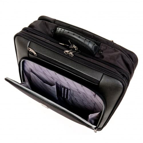 Бизнес куфар ENZO NORI модел BUSINESS EN084D 45 см за ръчен багаж и документи цвят черен текстил
