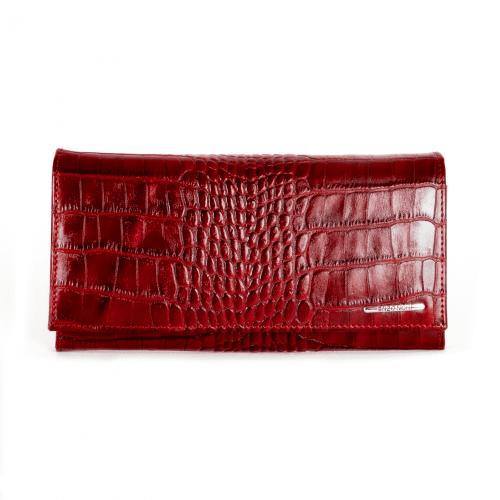 Дамско портмоне с удобно вътррешно разпределение от висококачествена естествена кожа ENZO NORI модел CLASSIQUE цвят бордо кроко