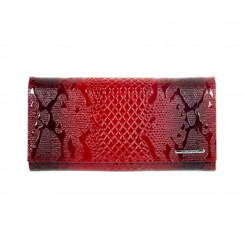 Дамско портмоне с множество отделения за карти и документи от естествена кожа ENZO NORI модел CLASSIQUE цвят червен лак